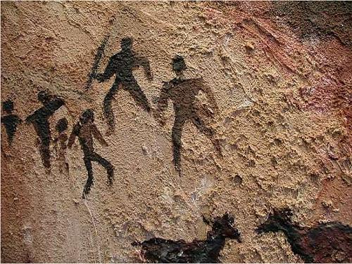 Arte Rupestre - Pré-História (Cena de caçada primitiva)